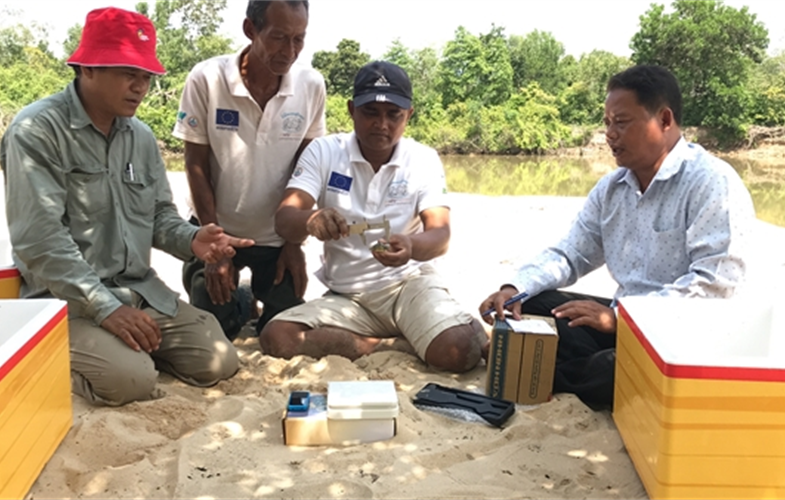 (l-r): In Hul, WCS-Fisheries Administration Counterpart; Long Sman, Community Nest Protection Team member; Nay Chea, Speedboat driver; Por Rany, Head of Fisheries Cantonment CREDIT: In Hul ©WCS