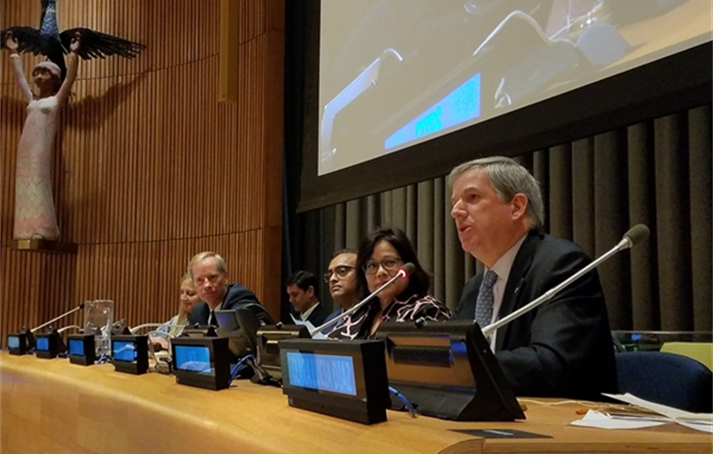 WCS President and CEO Cristián Samper speaking at the UN for the celebration of World Wildlife Day 2020.  CREDIT: Natalie Cash